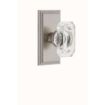 Carre Plate Double Dummy with Baguette Crystal Door Knob in Satin Nickel