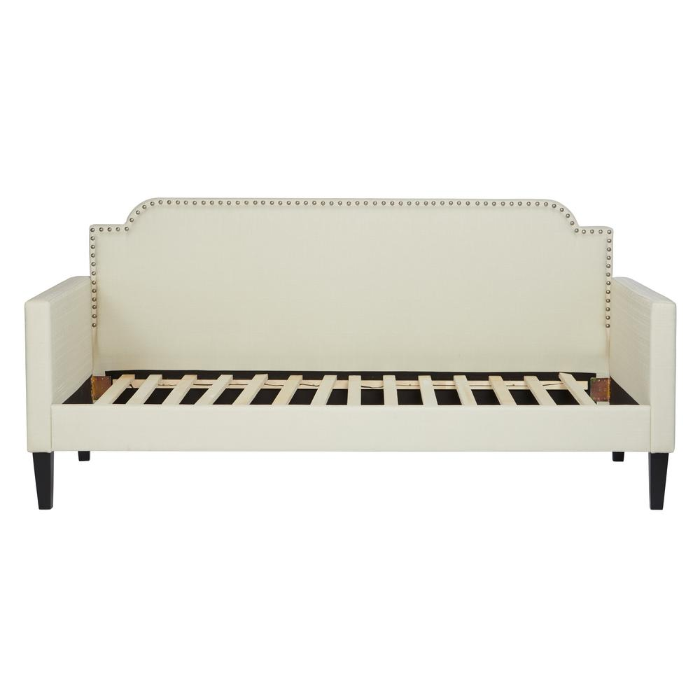 Cream Upholstered Twin-size Rounded Back Daybed