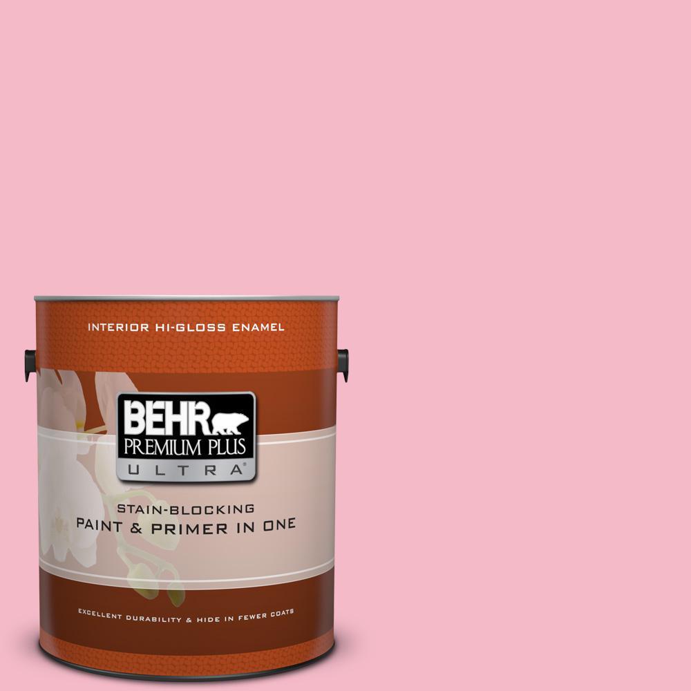 1 gal. #120C-2 Pink Punch Hi-Gloss Enamel Interior Paint