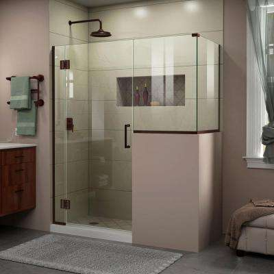 Unidoor-X 47 in. x 40-3/8 in. x 72 in. Frameless Hinged Shower Enclosure in Oil Rubbed Bronze