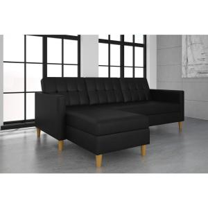 Astonishing Dhp Hartford Black Faux Leather Storage Sectional Futon Gmtry Best Dining Table And Chair Ideas Images Gmtryco