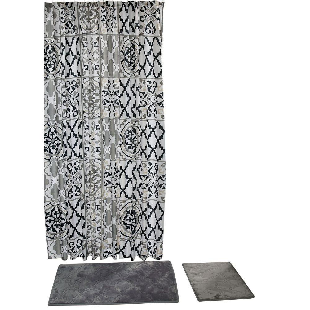 Chesapeake Merchandising Addison Grey 15-Piece Shower Curtain Set ...