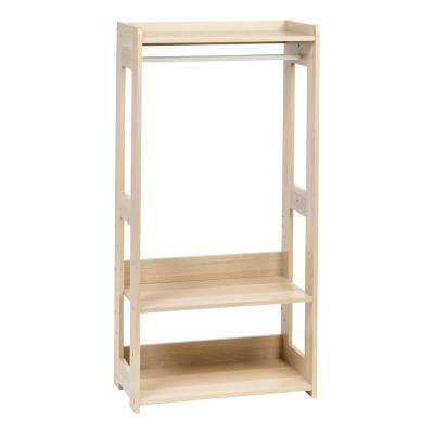 Natural Brown Compact Wood Garment Rack