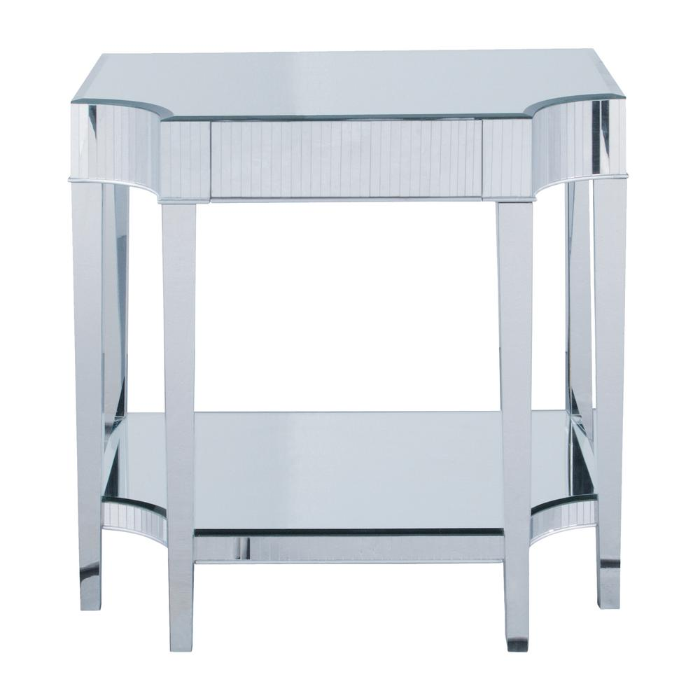 Cinema Mirrored Finish Side Table, Clear Mirror