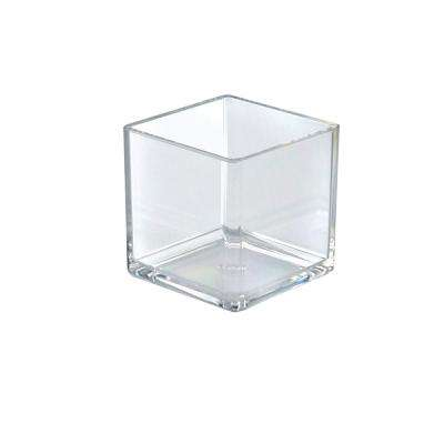 4 in. W x 4 in. D x 4 in. H Crystal Styrene Square Display Cube (4-Pack)