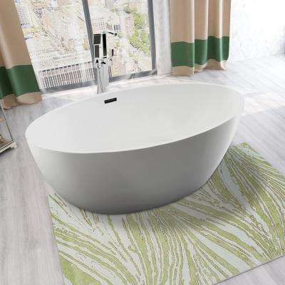 Amiens 69 in. Acrylic Flatbottom Freestanding Bathtub in White