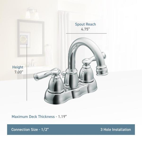 Moen Banbury 4 In Centerset 2 Handle Bathroom Faucet In Chrome 2 Pack Ws84913 2pk The Home Depot