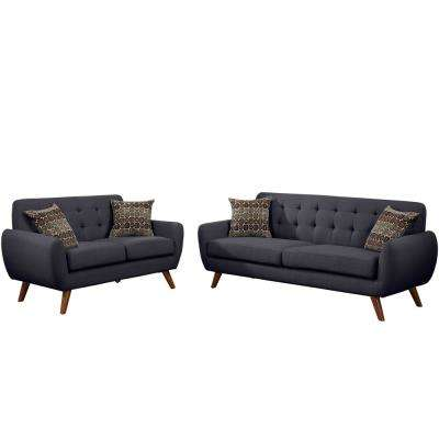 Brescia 2-Piece Ash Black Sofa Set