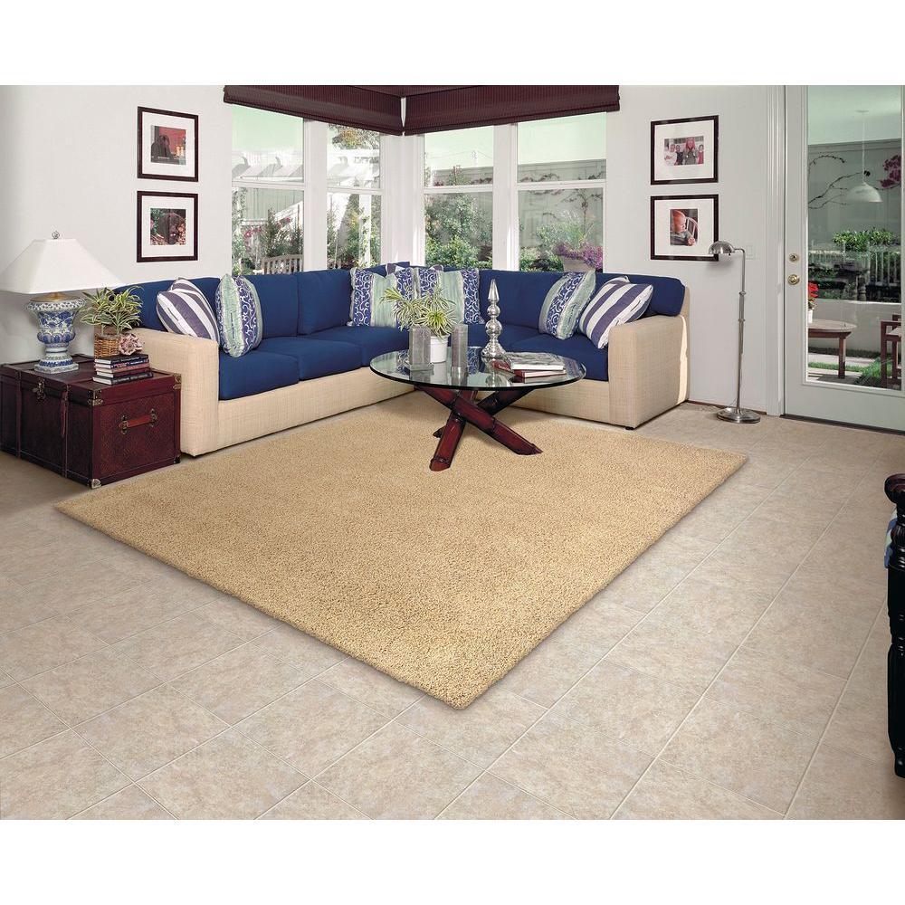 Twist Natural 6 ft. x 8 ft. Bound Carpet Remnant