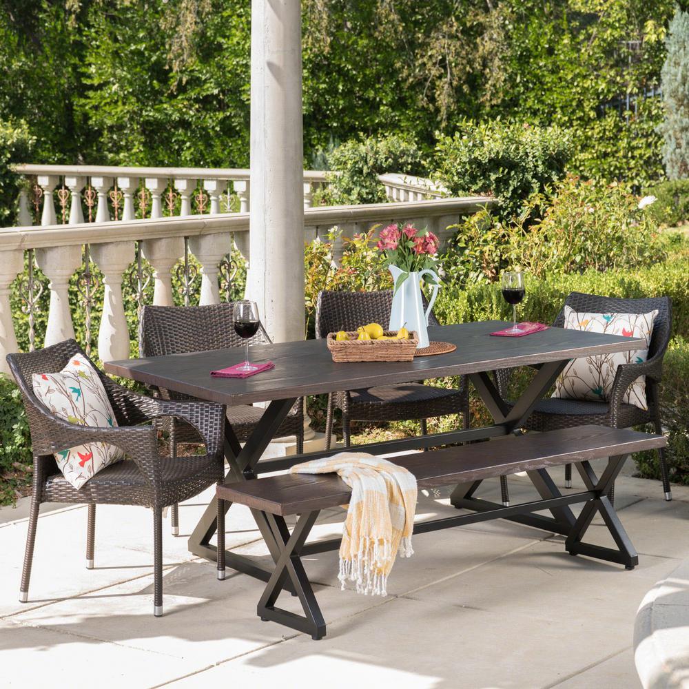 Isola 29 in. Multi-Brown 6-Piece Metal Rectangular Outdoor Dining Set