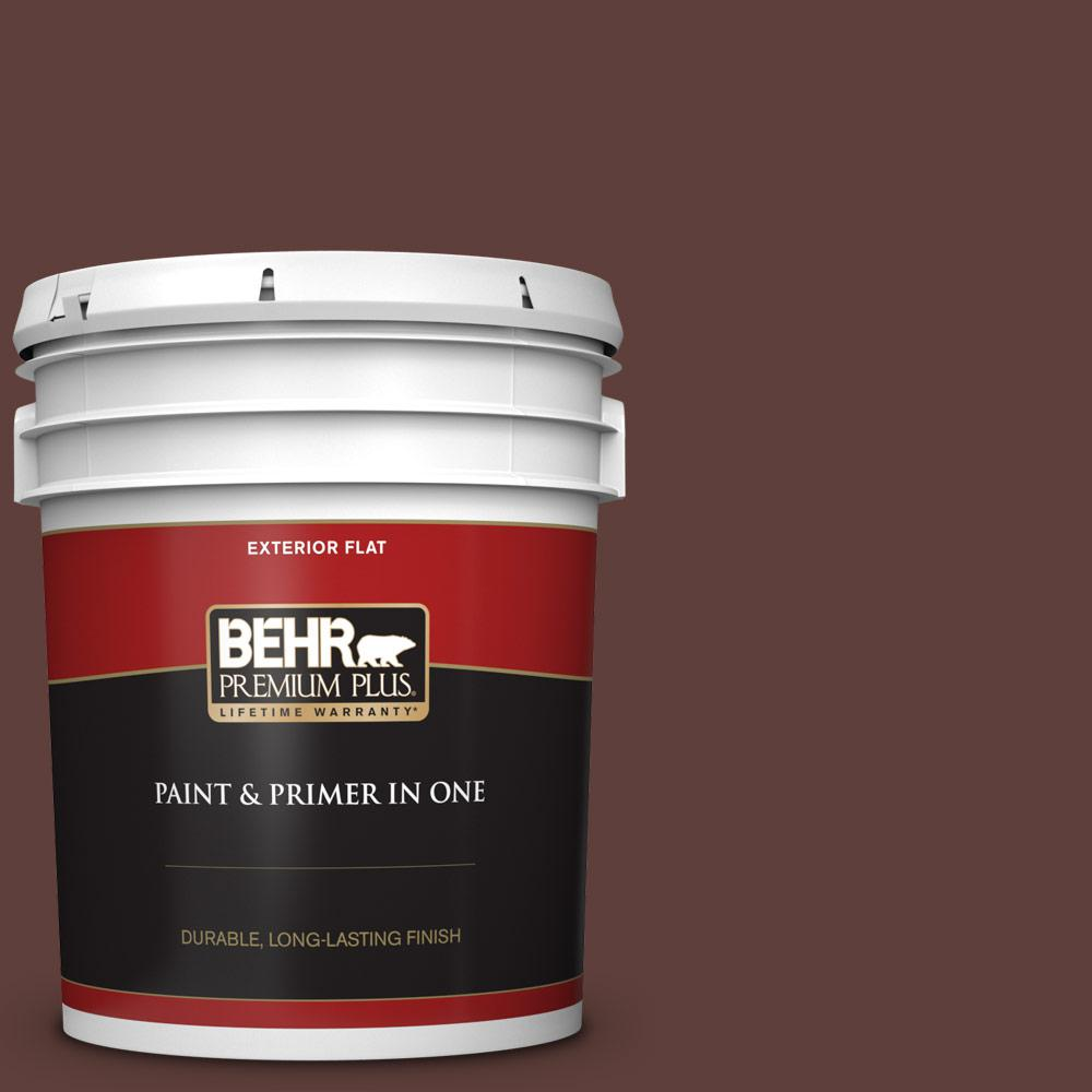 Behr Premium Plus 5 Gal Pmd 62 Black Plum Flat Exterior Paint And Primer In One 430005 The Home Depot
