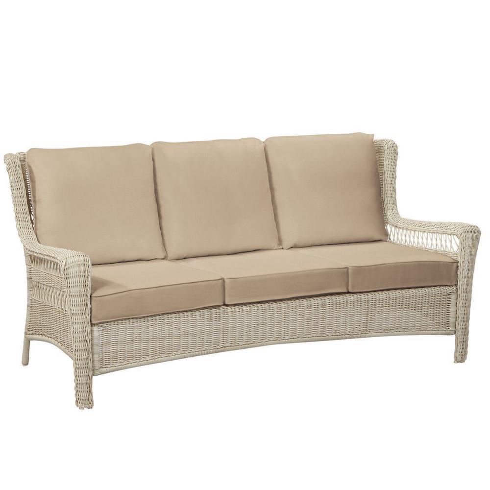 Park Meadows Off-White Wicker Outdoor Patio Sofa with Sunbrella Beige Tan Cushions