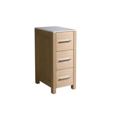 Torino 12 in. W x 28 in. H x 17-3/4 in. D Bathroom Linen Storage Cabinet in Light Oak
