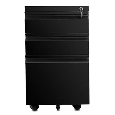3- Drawers Black Home Office Lockable File Cabinet Storage