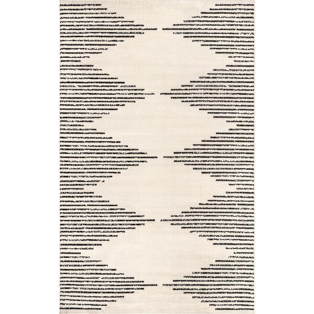 Romina Diamond Pinstripes Gray 5 ft. x 8 ft. Area Rug