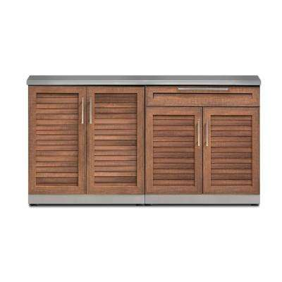 Natural Cherry 3-Piece 64 in. W x 36.5 in. H x 24 in. D Outdoor Kitchen Cabinet Set