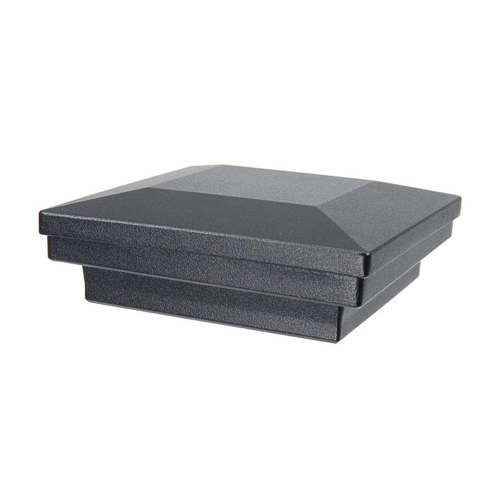 3.5 in. x 3.5 in. Black Sand Aluminum Flat Pyramid Post