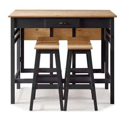 Marseille 5-Piece Black and Natural Pine Folding Table Set