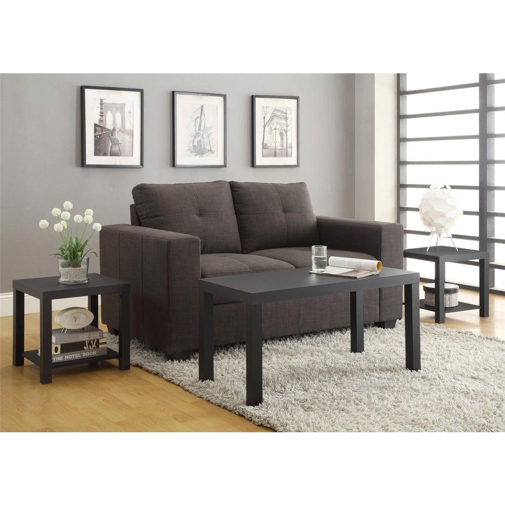 Altra Furniture Coffee Table and End Table Set in Black 3Piece