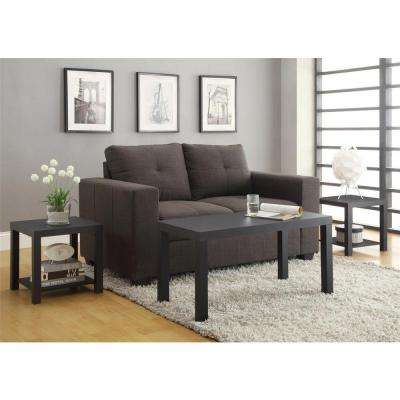 Coffee Table and End Table Set in Black (3-Piece)