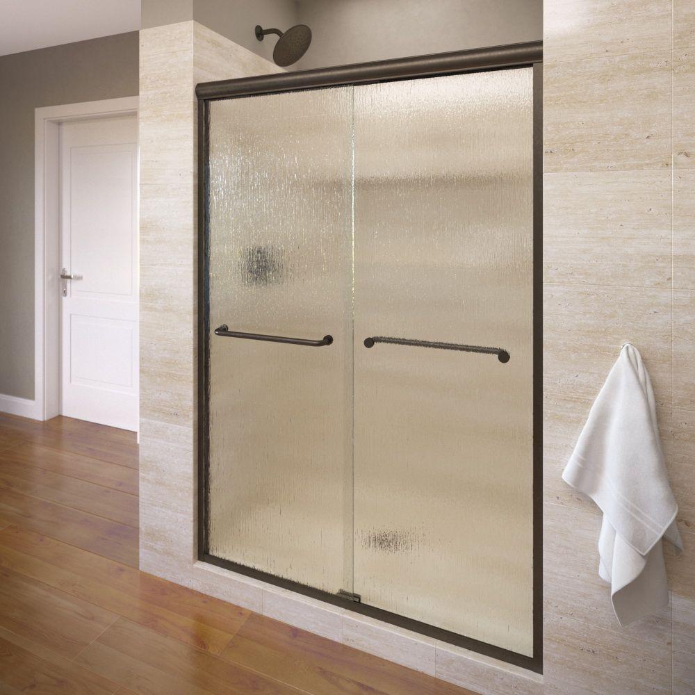 Infinity 58-1/2 in. x 70 in. Semi-Framed Sliding Shower Door in Oil Rubbed Bronze