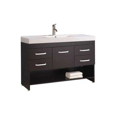 Gard 48 in. W x 18 in. D x 35 in. H Bath Vanity in Espresso with Acrylic Vanity Top in White with White Basin