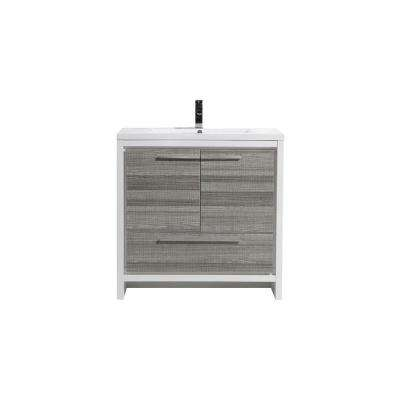 Dolce 36 in. W Bath Vanity in High Gloss ash Gray with Reinforced Acrylic Vanity Top in White with White Basin