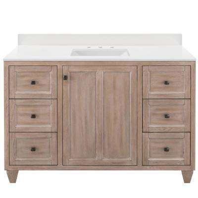 Banks 49 in. W x 22 in. D Bath Vanity in Antique Ash with Engineered Marble Vanity Top in Winter White with White Sink