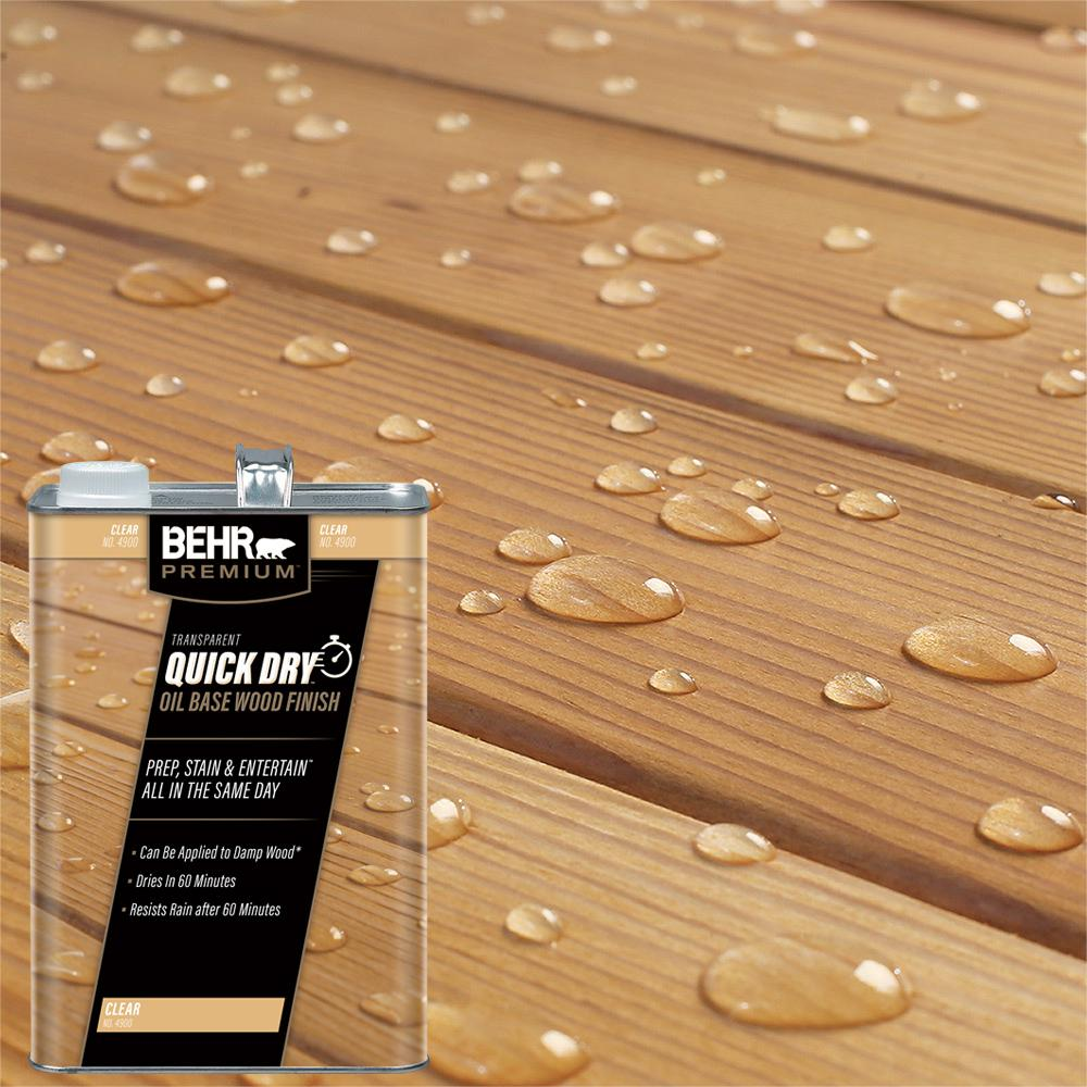 Best Deck Stain And Sealer 2020 BEHR Premium 1 gal. Transparent Quick Dry Oil Base Wood Finish