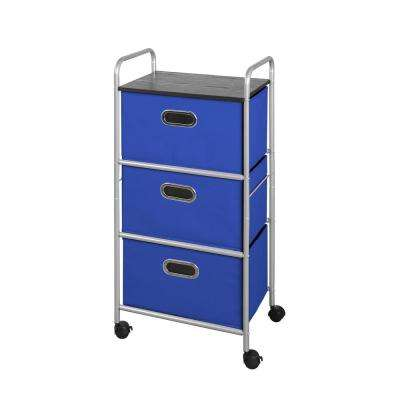 3 Drawer Cart with MDF Top- Blue