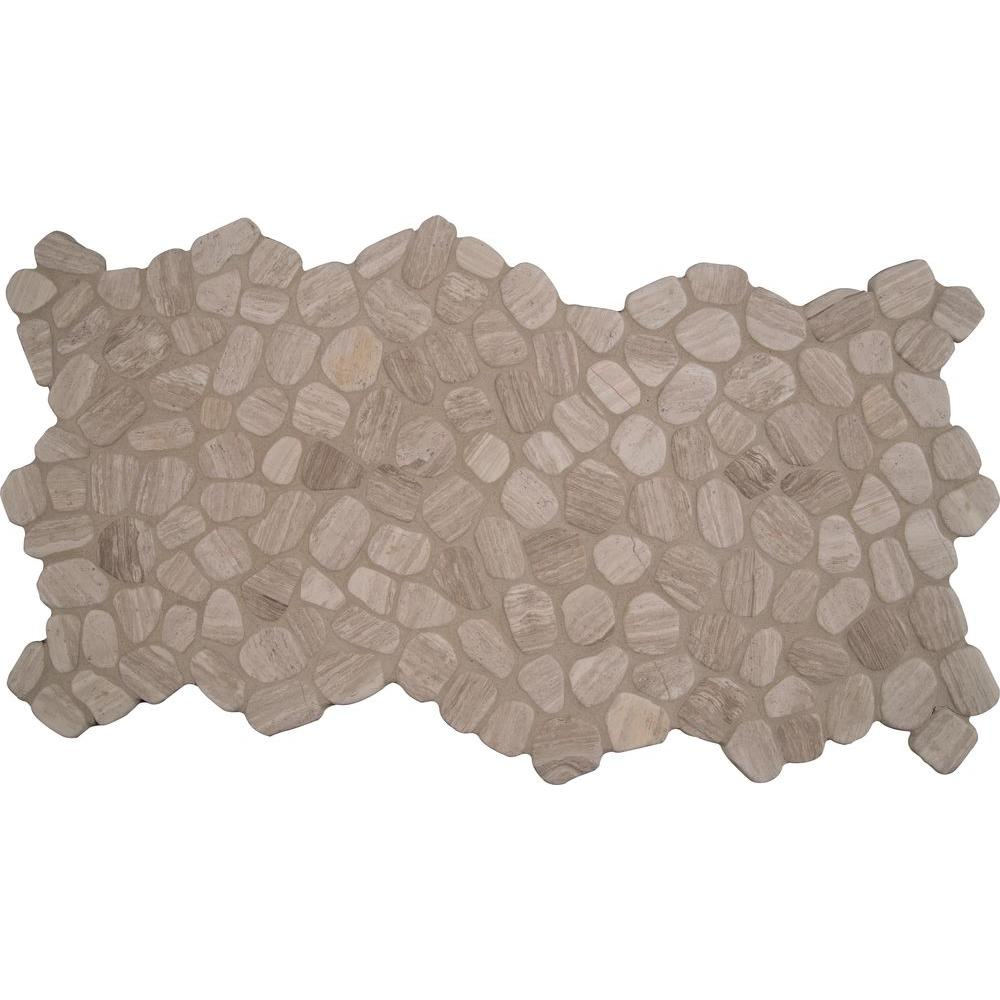 MSI White Oak River Rock 12 in. x 12 in. x 10 mm Tumbled Marble Mesh-Mounted Mosaic Floor and Wall Tile