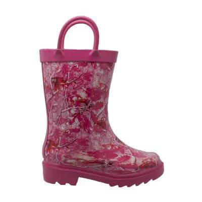 Girls Size 8 Camo Pink Rubber Rain Boots