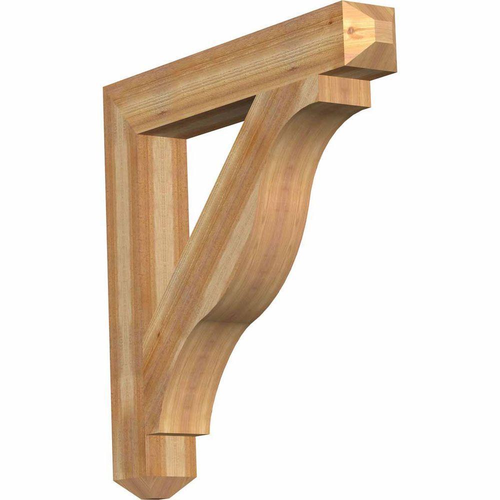 Ekena Millwork 6 in. x 42 in. x 42 in. Western Red Cedar Funston Craftsman Rough Sawn Bracket