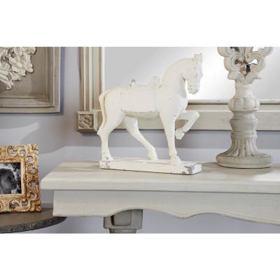 Large Distressed White Horse Sculpture Shelf Decor