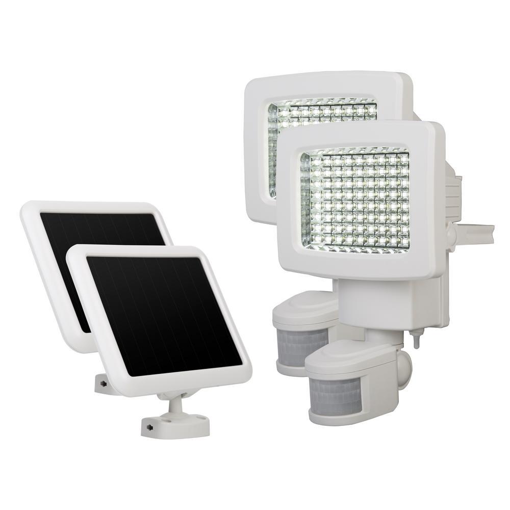 White 80-LED Solar Motion Outdoor Light (2-Pack)