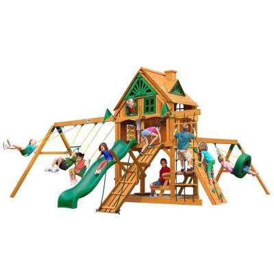 Frontier Treehouse with Fort Add-On and Amber Posts Cedar Swing Set