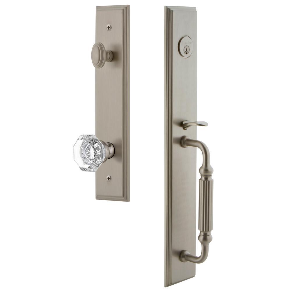 Grandeur Carre 2-3/4 in. Backset Satin Nickel 1-Piece Door Handleset with F-Grip and Chambord Knob