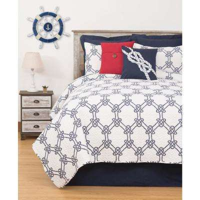 Nautical Ropes Blue Twin Quilt Set