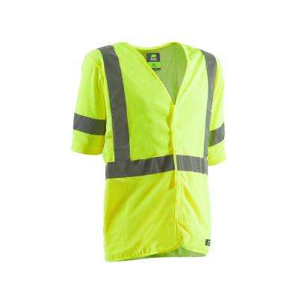 Men's 3 XL Yellow Polyester Mesh Hi-Vis Type R Class 3 Short Sleeve Vest