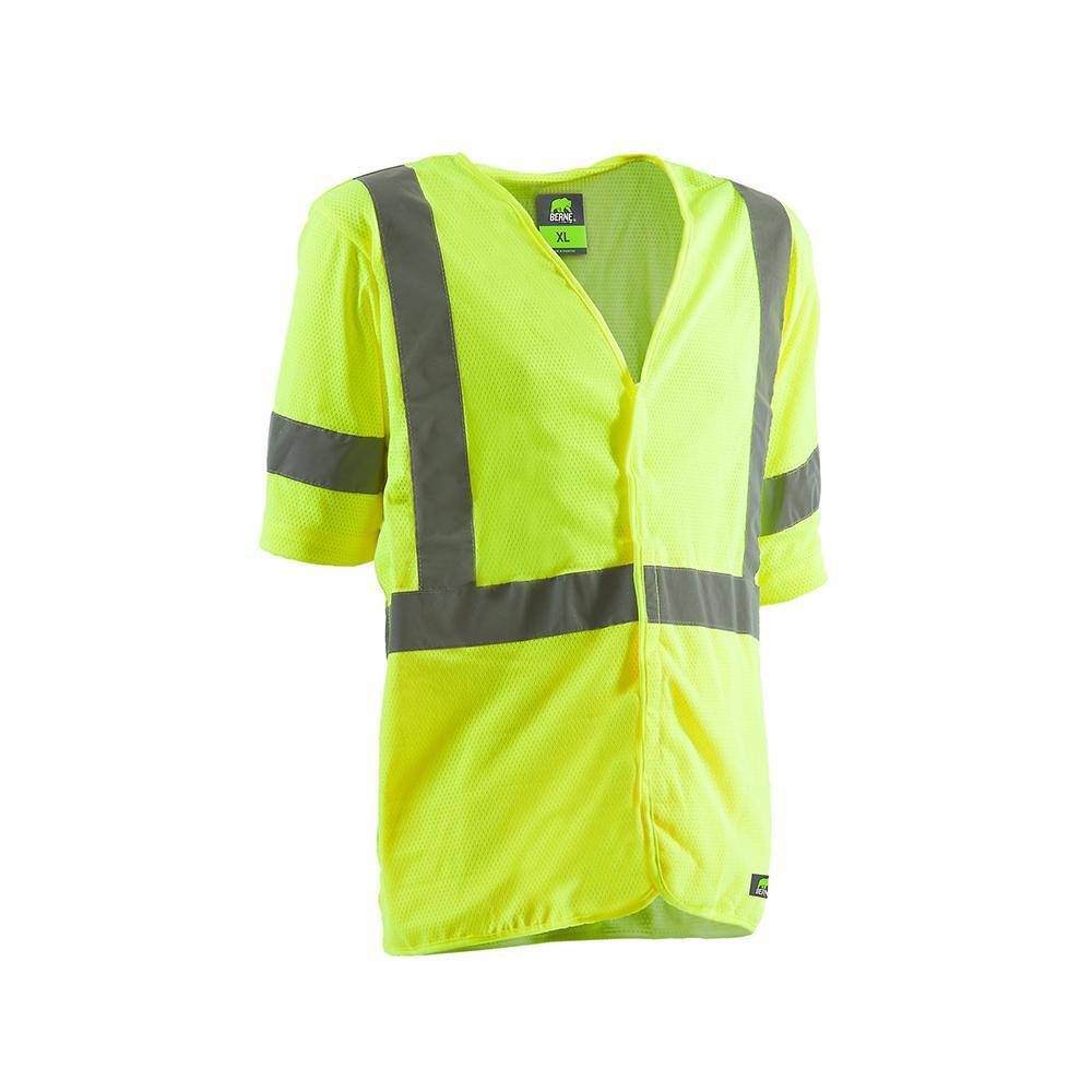 Men's 4 XL Yellow Polyester Mesh Hi-Vis Type R Class 3 Short Sleeve Vest