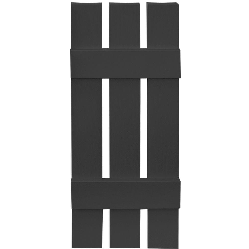 12 in. x 31 in. Board-N-Batten Shutters Pair, 3 Boards Spaced #002 Black