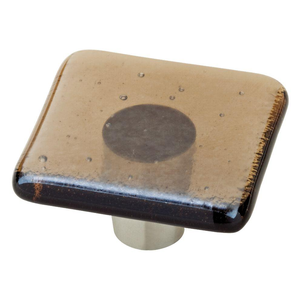 Homegrown Hardware by Liberty 1-1/2 in. Transparent Khaki Square Glass Cabinet Knob