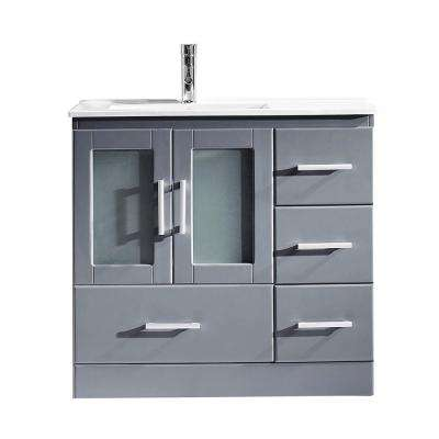 Zola 36 in. W Bath Vanity in Gray with Ceramic Vanity Top in Slim White Ceramic with Square Basin and Faucet
