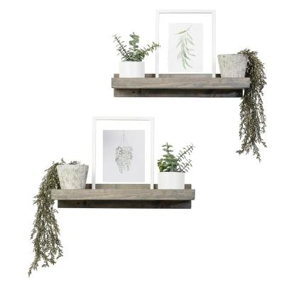 Rustic Luxe 24 in. W x 10 in. D Gray Floating Decorative Shelves (Set of 2)