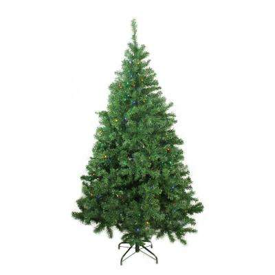 6 ft. x 42 in. Pre-Lit Mixed Classic Pine Medium Artificial Christmas Tree Multi-LED Lights