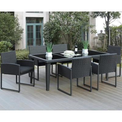 Nanto 7-Piece All-Weather Wicker Rectangular Outdoor Dining Set with Brown Cushion