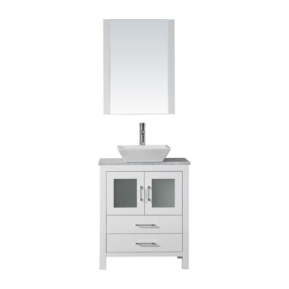 Virtu USA Dior 29 in. W Bath Vanity in White with Marble Vanity Top in White with Square Basin and Mirror and Faucet