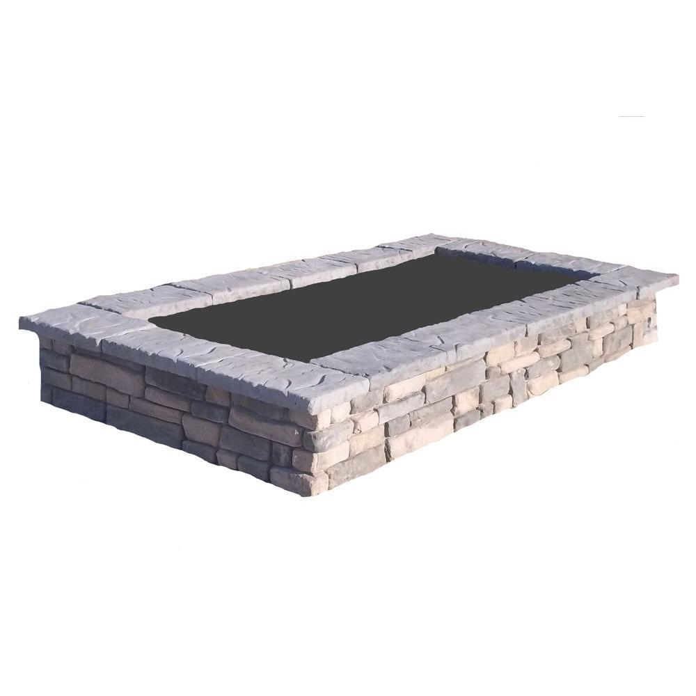 107 in. Random Limestone Rectangular Concrete Planter