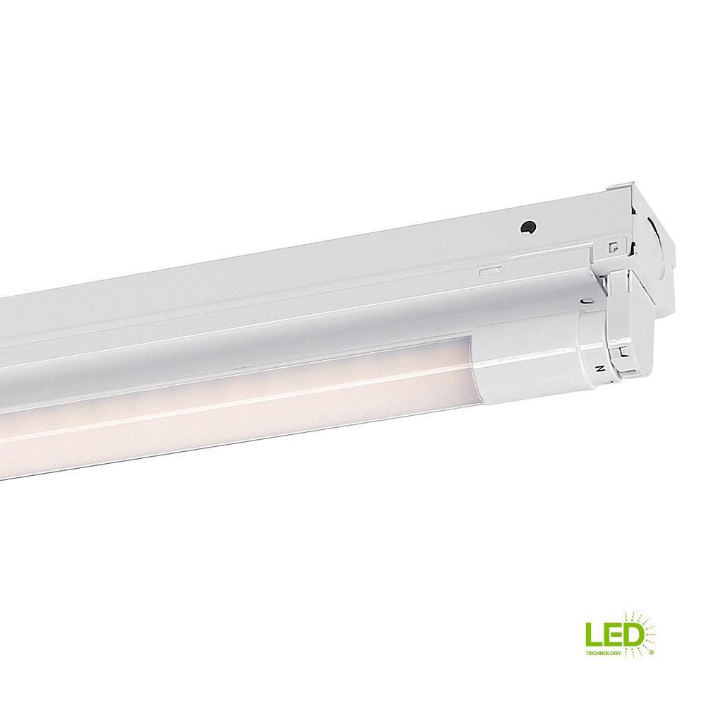 4 ft. 1-Light White LED MV Surface Mount Strip Light with T8 LED 5000K Tubes