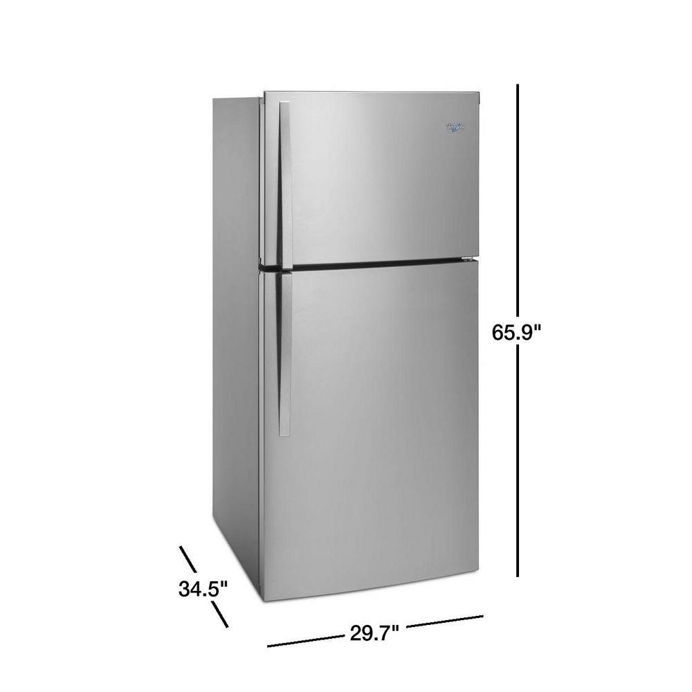Whirlpool 19 2 Cu Ft Top Freezer Refrigerator In Fingerprint Resistant Metallic Steel Wrt519szdg The Home Depot
